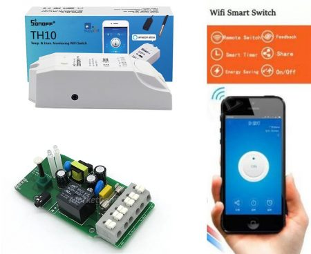 Telefonról, vagy manuálisan kapcsolható, időzíthető, 220V 10A SONOFF-WIFI modul (smart home TH10) AKCIÓS !!!!! RENDELÉSRE !!!!!! 3-4 munkanap