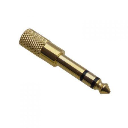 6,3mm sztereó dugó - 3,5mm jack aljzat adapter, aranyozott AKCIÓS !!!! KAPHATÓ !!!!!