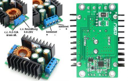 DC – DC lefelé állítható áram és feszültség stabilizátor 0,2-9A -ig 300W (hut_012000) AKCIÓS !!! RENDELÉS ALATT !!!!!