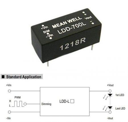 DC - DC fix áramú LED tápegység, 700mA, 22W-ig, 2-32V-között, dimmelhető. (LDD-700L) KAPHATÓ !!!!!!