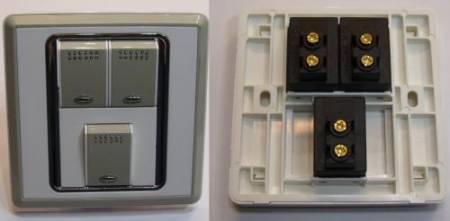 RGB LED kapcsoló (3 áramkörös falba vagy bútorba süllyeszthető) AKCIÓS !!!! KAPHATÓ !!!!!!