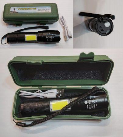 POWER LED-es LÁMPA és COB led munkalámpa, állítható fókusszal 500 lumenes USB Li-Ion akkumulátor fekete alu ház AKCIÓS !!!!!! KAPHATÓ !!!!