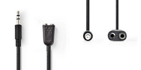 3,5 mm-es sztereo elosztó kábel, 0,20 m fekete (CAGP22100BK02) AKCIÓS !!!!!! RENDELÉS ALATT !!!!!!