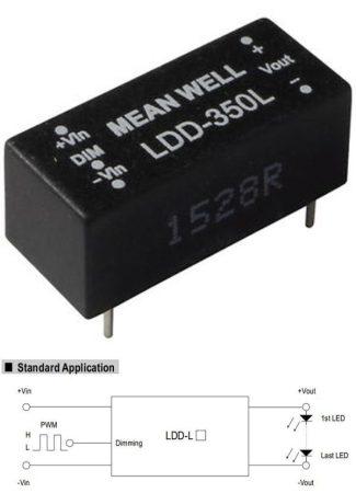 DC - DC fix áramú LED tápegység, 350mA, 11W-ig, 2-32V-között, dimmelhető. (LDD-350L) KAPHATÓ !!!!!!
