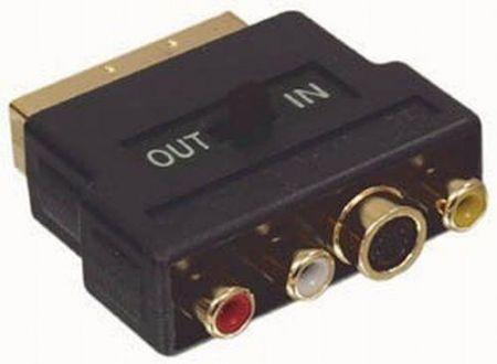SCART dugó - 3 RCA aljzat aranyozott (audió/videó be és ki) kapcsolós (CVGP31902BK) AKCIÓS !!!! KAPHATÓ !!!!!!!