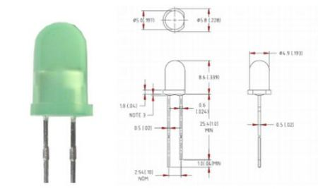 5mm zöld villogó LED színezett KAPHATÓ !!!!!!
