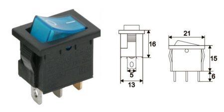 Billenő kapcsoló kék 2állású 1áramkör 6A 250V AC (09019KE)