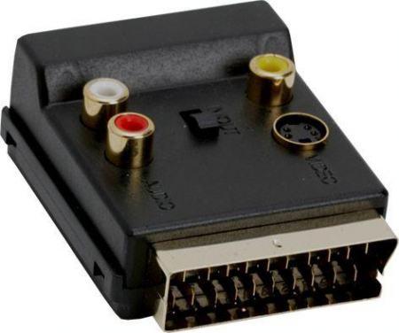 Scart 21 pólusú dugó - Scart 21 pólusú aljzat + 3x RCA be - ki + SVIDEO (CVGP31903BK) KAPHATÓ !!!!!!