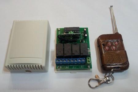 Távirányitó modul + távvezérlő 4csatornás állandó kapcsolású 433Mhz KÉSZLETHIÁNY !!!!!!