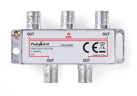 F-ELOSZTÓ 4-es  5 - 1000 MHz kábel TV, DVB-T elosztása, Max. 8,0 dB Csillapítás (SSPL400ME) KÜLSŐ RAKTÁRON !!!! Előre utalással