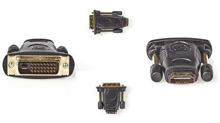 HDMI aljzat – DVI-D dugó adapter aranyozott (CVGP34912BK) KÜLSŐ RAKTÁRON !!!! 1-2 munkanap