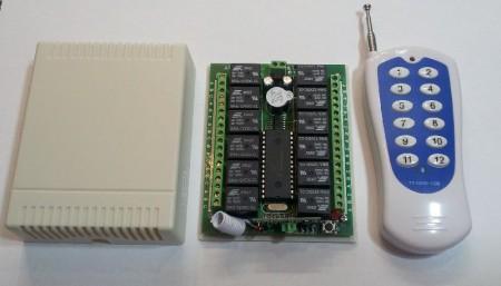 Távirányitó modul + távvezérlő 12 csatornás állandó vagy pillanat kapcsolású 433Mhz KÉSZLETHIÁNY !!!!