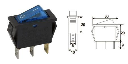 Billenő kapcsoló kék 2állású 1áramkör 10A 250V AC (09050KE) KAPHATÓ !!!!!!