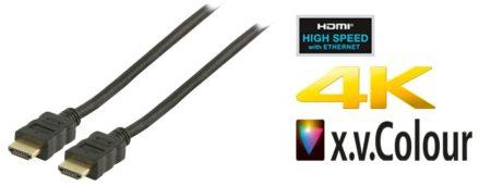 HDMI kábel 10m HDTV Version: HDMI 1.4 NAGYSEBESSÉGŰ, ETHERNETTEL, ARANYOZOTT DUGÓ (CVP34000BK100) KÜLSŐ RAKTÁRON !!!! 1-2 munkanap